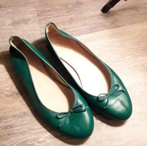 J. Crew Green Italian Leather Flats 6